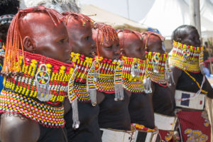 Turkana-ladies-from-the-Northern-kenya-singing-as-they-showcase-their-Neck-gear-and-head-painting